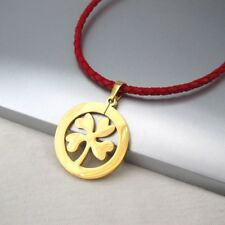 Gold Four Leaf Clover Celtic Lucky Charm Pendant Braided Red Leather Necklace