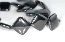 20X20MM BLACK JET GEMSTONE ORGANIC DIAMOND SQUARE LOOSE BEADS 16""