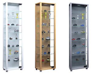 Narrow Glass Display Cabinet Slim Floor Standing Toys Vapes With 8 Glass Shelves