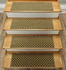 "Green Stair Tread Set of 13 Trellis Non Slip Carpet Treads 29"" x 9"" Rug Depot"