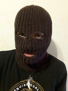 hand knit wool sweater balaclava, ski mask, brown,  one size