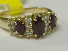VINTAGE 14 K GOLD  NATURAL GARNET  AND DIAMOND  RING SIZE 5,5