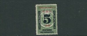 NICARAGUA 1936 REVENUE, TELEGRAPH stamp with multiple overprints F/VF MH