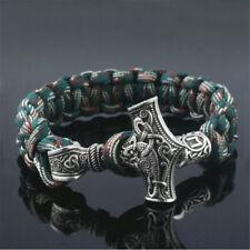 Norse Viking Thor Hammer Mjolnir&rune Bead Parachute Cord Rope Bracelet Gift