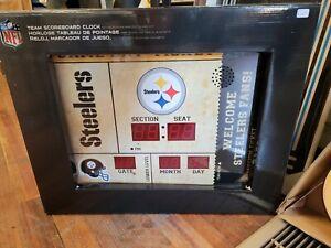 Team Sports America Pittsburgh Steelers Bluetooth Scoreboard Wall Clock NEW