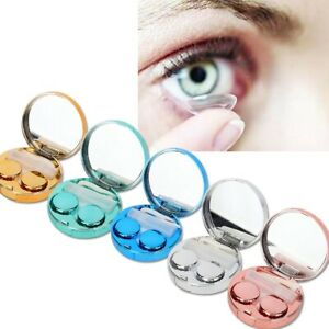 Mini Travel Contact Lens Case Box Container Holder Eye Care Set With Mirror