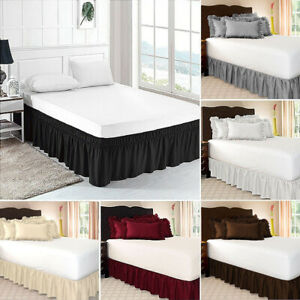 Wrap Hotel Bed Skirt Wrap Elastic Bed Shirts 38cm Height Twin /Full/ Queen/ King
