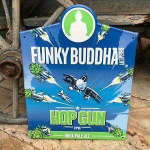 Funky Buddha Brewery Hop Gun IPA Tin Tacker Metal Beer Sign