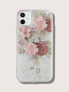 Gold Foil Decor Flower Print Clear iPhone Case UK SELLER