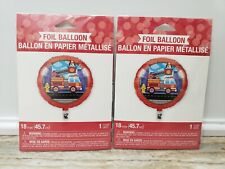 (2) Foil Fire Truck Balloons - Birthday Party Supplies Firefighter fire dog