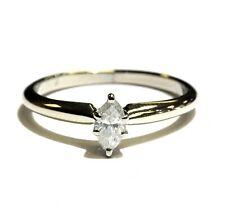 14k white gold .20ct SI2 H marquise diamond solitaire engagement ring 2g