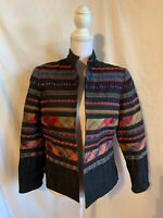 Coldwater Creek Women's Petite Size 8 Multicolor Open Front Embellished Jacket