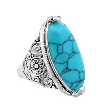925 Silver Blue Turquoise For Women's Fashion Jewelry Gift wedding Ring size6.5