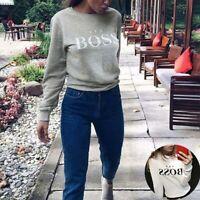 Women Sleeve Tops Letter Long Blouse UK Print Sweatshirt Hoodie  Pullover Jumper