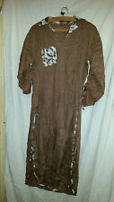 LOVELY VINTAGE RETRO ? ASIAN WEDDING ? DRESS BROWN ANIMAL PRINT TRIM 40 CHEST