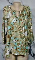 APT. 9 Cyan Blue Tan Brown Patterned Tunic Top XL 3/4 Sleeves Tied Neckline