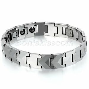Mens Polished Silver Tone Wide Heavy Tungsten Carbide Link Health Bracelet Chain