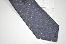 GUCCI Mens Italy GG Woven Silk Graphite Grey Neck Tie