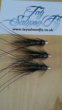 "3x RS Super Snaelda Black & Silver 1/4"" Conehead Tube Salmon Fishing Flies"
