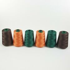 Lot Of 6 6000 Yds Cones Sewing Thread 100%Cotton Peach Brown Green TEX 30 Equi