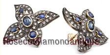 Diamond 1.86ct Sapphire Victorian Look Earrings Estate Art Deco Antique Rose Cut