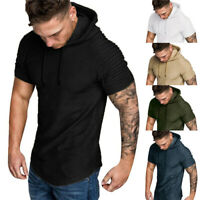 D Men Pullover T-shirt Hooded Tops Pleated Short Sleeve Tee Slim Solid Casual