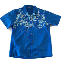 Casual Wear Aloha Hawaiian Short Sleeve Button Front Shirt Men's Size M/L Blue