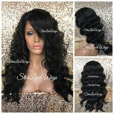 Human Hair Blend Body Wave Curly Lace Front Wig Long Jet Black #1 Heat Safe Ok