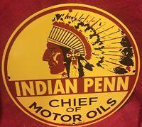 VINTAGE STYLE 1937 INDIAN PENN CHIEF MOTOR OIL PORCELAIN ENAMEL GAS SIGN 12 Inch