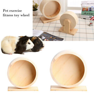Round Wooden Mute Roller Hamster Running Exercise Hedgehog Sports Wheel Pet Toy