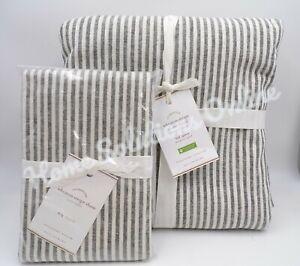 Pottery Barn Wheaton Striped Duvet Cover Full Queen w/ 1 King Sham Gray #6795