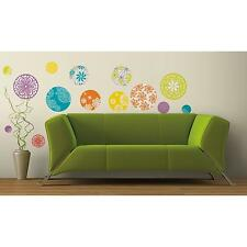 PATTERNED DOTS wall stickers 20 Colorful Circle decals Flower scrapbook