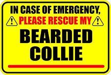 In Case Of Emergency Rescue My Bearded Collie Sticker