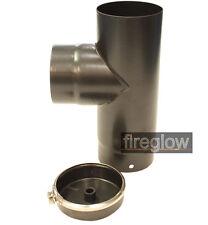 """6"""" (150mm) Diameter 90 Degree TEE & Cap Vitreous Enamel Flue Pipe Black"""