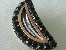 Antique Georgian Victorian Crescent Jet Rock Crystal Brooch Pin Hair  Mourning