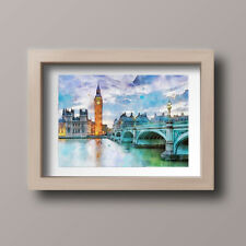 Watercolour London Skyline Scene Home Print,Gift,Wall Art A4-Unframed