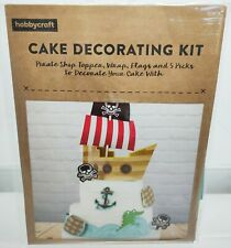 Pirate Ship Cake Decorating Kit Hobbycraft Boat Topper Wrap Flag Mast Sail Sea