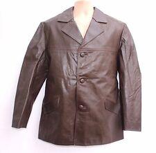 True Vintage Brown 100% Real Leather Hip Length Men's Jacket Coat size L / XL