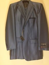 BNWT Stacy Adams 38L Navy Blue Fashion Striped Exotic Harvey Suit 3PC Sharkskin