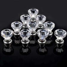 10X 30MM Clear Crystal Glass Door Knobs Diamond Drawer Cabinet Furniture Kitchen
