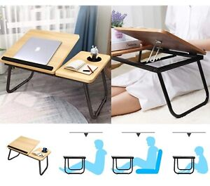 Adjustable Laptop Table Foldable Bed Desk Portable Computer Study Table Cup Slot