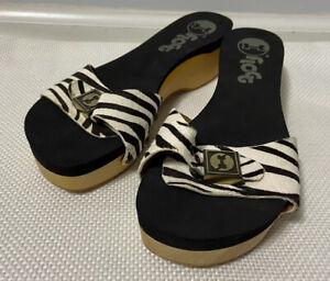 Flogg Clog 7.5 Melanie Black White Zebra Leather Wood Platform Slide Sandals