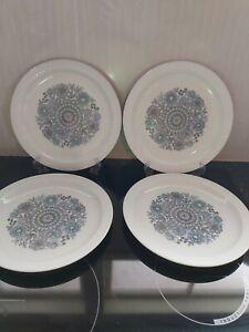 4 Pontesa Mid Century Blue & White 'Castillian Collection' Dinner Plates Spain