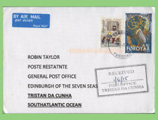 Faroe Is. /Tristan Da Cunha 2015 airmail cover with Tristan Post Office cachet