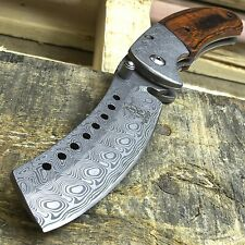"""8"""" BUCKSHOT DAMASCUS STYLE WOOD SPRING ASSISTED FOLDING POCKET KNIFE Open EDC"""