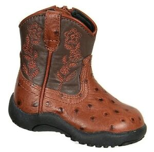 Roper Girls Ricochet Western Boots Size 2 Cognac Leather Embroidered Flowers