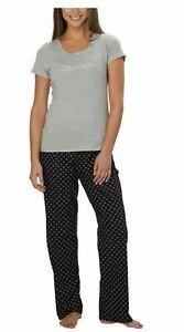 Calvin Klein Womens 2-Piece Sleepwear Pajama Set Black Gray Logo Small Pre-Owned