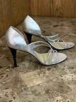 NWOB Women's Michael Kors Sandals Heels Shoes Size 9.5M Silver Metallic Leather