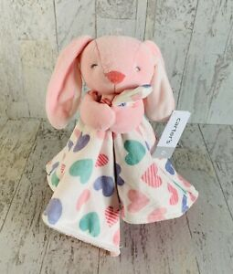 Carters Pink Bunny Rabbit Blanket Security Lovey Plush Hearts Soft Tags
