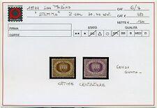 1877 San Marino 30 c+40 c Prima Serie S. G . ottime centrature Cat. Bolaffi 6/7+